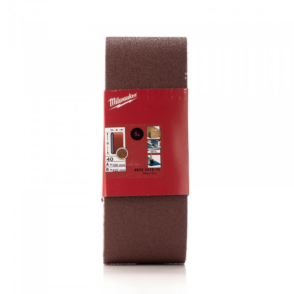 K40 Schleifband 100 x 620 mm für Bandschleifer BS 100 LE, 5 Stück