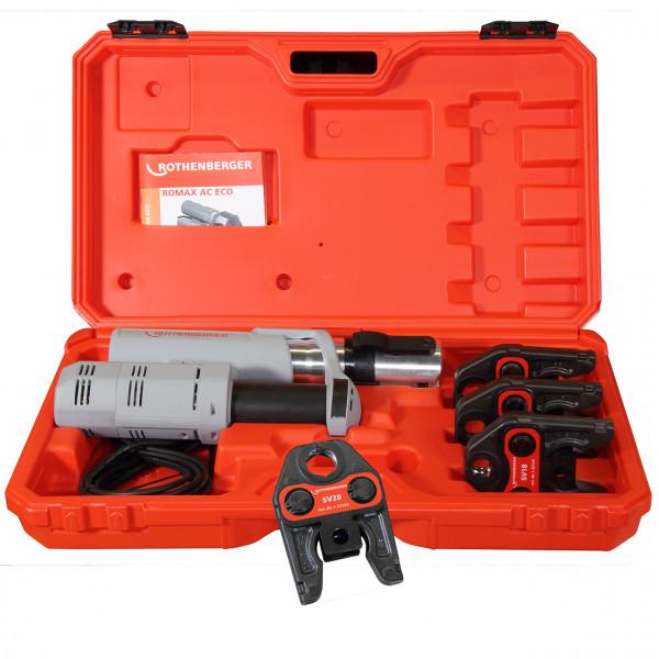 Rothenberger elektrohydraulische Fitting - Pressmaschine ROMAX AC ECO, Set mit Pressbacken Kontur V